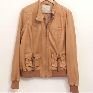 EUC Lucky Brand Sunset Leather Bomber Jacket XL